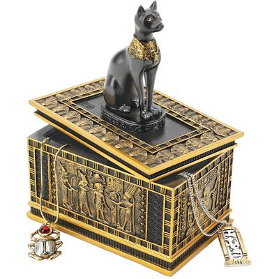 Design Toscano Royal Bastet Egyptian Box in Gold and Ebony (Set of 2)