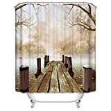 Jibin Bong Fall Wooden Bridge Lake House Shower Curtain, Nature Country Rustic Home Art Paintings Pictures for Bathroom Decorations, Brown Beige Khaki Yellow (72Wx72H)