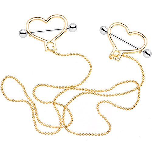Body Candy Steel Valentines Day Royal Heart to Heart Dangle Nipple Chain 14 Gauge 25mm