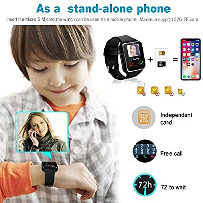 Bluetooth Smart Watch with Camera TouchScreen, Unlocked iPhone Smartwatch SIM Card Slot Watches, Waterproof Sports Smart Wrist Band Watch Compatible with Android Phones IOS Samsung for Kids Men Women
