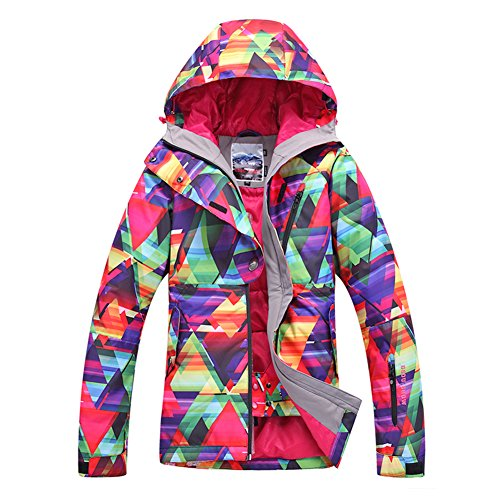 [HOTIAN Women's High Windproof Technology Colorful Printed Snowboard Clothing Ski Jacket] (Ladies Snowboard Clothing)
