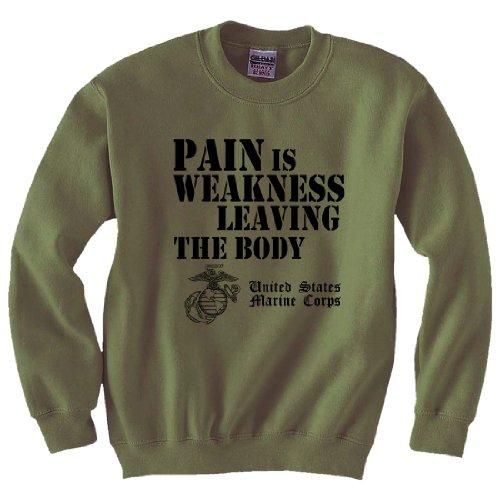 (USMC Pain is Weakness Crewneck Sweatshirt in Military Green - X-Large)