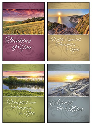 12 Boxed Thinking of You Greeting Cards - Across the Miles - KJV Scripture Included in Each Card! Bulk Thinking of You Cards & 12 Envelopes Boxed Cards Beautiful Landscape Photography