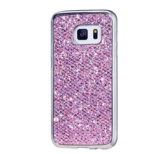 KSHOP Case for Samsung Galaxy S7 Soft Silicone TPU Purple Glossy Glitter Bling Shining Luxury Protective Case Cover with Eletroplating Frame Cell Phone Back Bumper Shell
