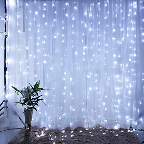 Qunlight Star 304 LED 9.8ftx9.8ft 30V 8 Modes with Memory Window Curtain String Lights Wedding Party Home Garden Bedroom Outdoor Indoor Wall Decorations(Cool White) from Qunlight