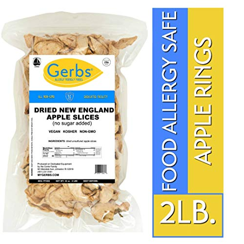- Gerbs Dried New England Apple Slices - 2 LBS. - No Sugar Added, Unsulfured & Preservative Free - Top 14 Allergy Free & NON GMO - Grown in USA