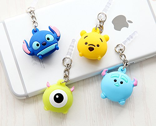 ZOEAST Sulley Mike Winnie Pooh Stitch Chain hanging Dust Plug 3.5mm Phone Headphone Jack Earphone Cap Ear Cap Dust Plug Charm iPhone 4 4S 5 5S SE 6 6S Plus Huawei Samsung IPad IPod (4pcs Cartoons) (Stitch Phone Charm)