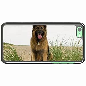 iPhone 5C Black Hardshell Case dog grass protruding tongue shepherd Desin Images Protector Back Cover