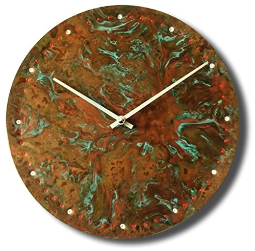 Copper Rustic Wall Clock 12-inch Quartz Silent Non Ticking