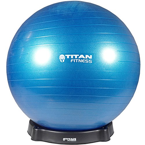 Titan Fitness 55cm Exercise Stability Ball w/ Base Chair Combo Gym Yoga Sports