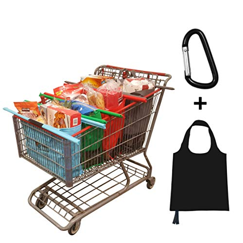 (Premium Reusable Grocery Trolley Bags, Pack of 4 with Insulated Cooler Bag + Free Snap Link + BONUS Eco Tote - Perfect for any Supermarket, Whole Foods, Walmart, Costco, Sam's Club Shopping carts )