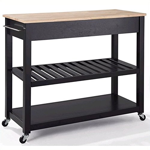 Crosley Furniture Portable Kitchen Cart with Natural Wood Top - ()