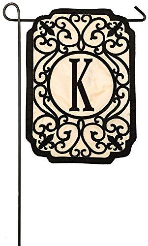 Evergreen Filigree Monogram K Applique Garden Flag, 12.5 x 18 inches