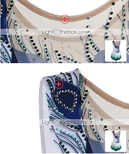 Rendimiento Pavo Mano Alta Mujer Ropa Real Chica Patinaje Hielo Vestido Teñido A Un Halo Licra De Patinaje Mangas Artístico Sobre Elasticidad Hecho l Blanco Color Vestidos Sin aqz6wfRw