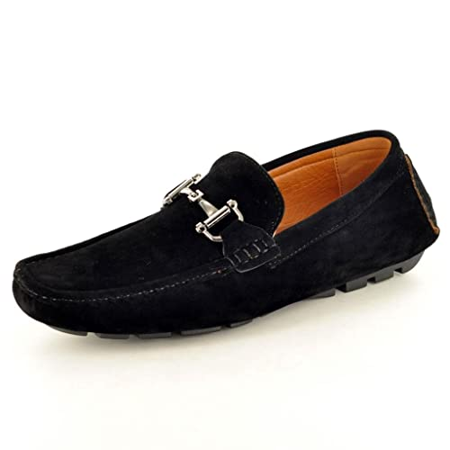cc004c4cf28 New Mens Black Casual Loafers Moccasins Slip on Driving Shoes (UK 6   EU 40
