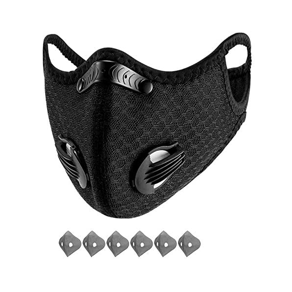 Yeswell-100-Packs-Staubmaske-Fahrrad-Maske-mit-6-Aktivkohlefilter-Baumwolle-und-2-Auslassventilen-Allergie-Maske-Gesichtsschutz-Staubdicht-Maske-fr-Radfahren-Laufen-Fitness-Outdoor-Aktivitten