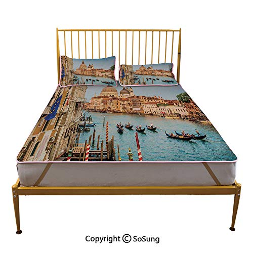 (Wanderlust Decor Creative Full Size Summer Cool Mat,Sunset in Venice Gondolas on Canal Grande with Basilica di Santa Maria Della Salute Sleeping & Play Cool Mat,)