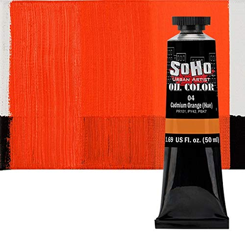 SoHo Urban Artist Oil Color Paint and High Pigmented Professional Oil Paint - 50 ml Tube - Cadmium Orange Hue