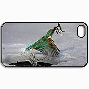 Personalized Protective Hardshell Back Hardcover For iPhone 4/4S, Birds Common Kingfisher 30882 Design In Black Case Color