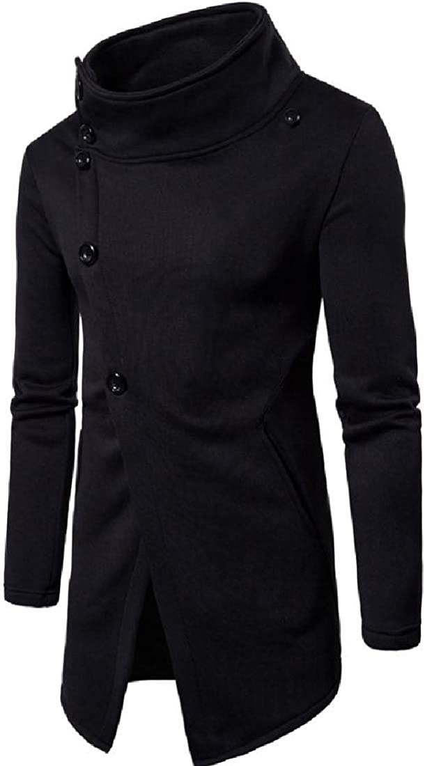 VITryst-Men Slim Mock Fit Classic Button Neck Closure Chunky Tracksuit Top