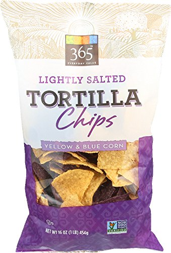 365 Everyday Value, Lightly Salted Tortilla Chips, Yellow & Blue Corn, 16 (Lightly Salted Chips)