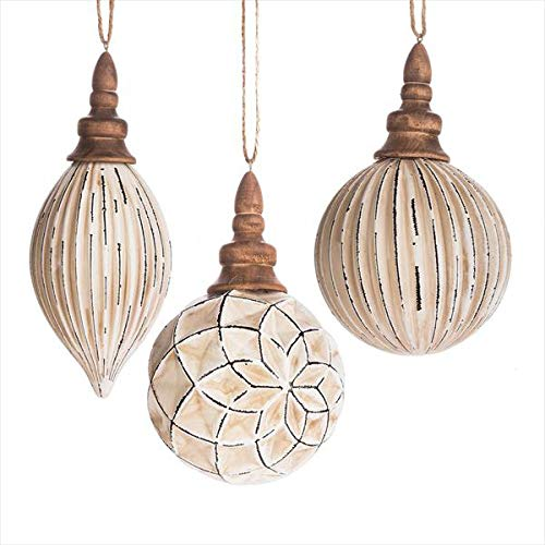 - Midwest-CBK Ball and Drop Distressed White 6 x 4 Wood Christmas Ornaments Set of 3