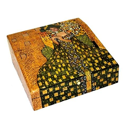 Coromandel COPPER LADY Hand Carved,Hand Painted Wooden Box 12x12x5 [Jewelry] - Hand Painted Wooden Box
