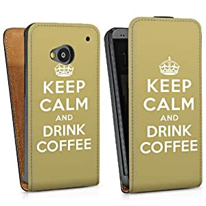 Diseño para HTC One M7 DesignTasche Downflip black - Keep calm and drink coffee