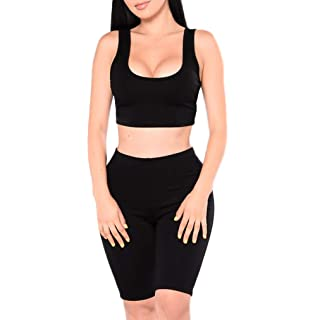 44351fd0928e3d WANGSCANIS Women's Two Pieces Outfit Sexy Sleeveless Crop Tank Top Bodycon  Shorts Pant Sets