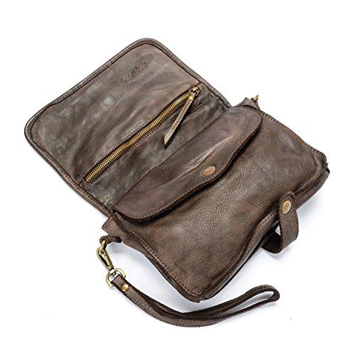 Ira del Valle, Borsa Donna, In Vera Pelle Intrecciata Vintage, Made in Italy, Modello Oklahoma Bag, Borsa a Mano e Spalla con Tracolla da Donna Ragazza marrone