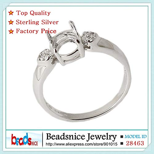 (Beadsnice Id28463 Pure Silver 925 Rings Elegant Oval Semi Mount Ring Settings for Wedding)