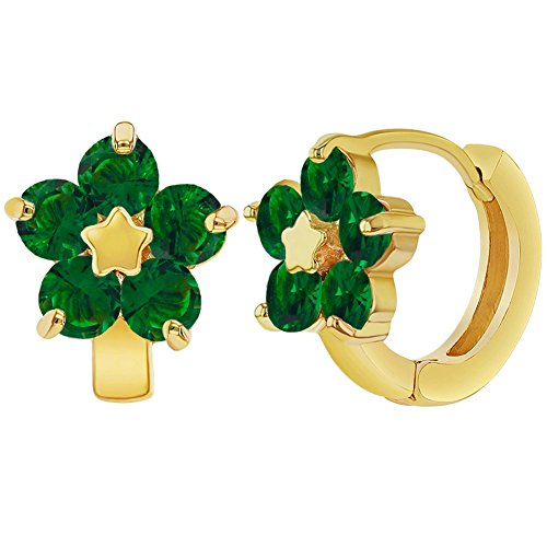 Green Huggie Earrings (18k Gold Plated Green Crystal Flower Huggie Hoop Earrings Girls Teens 0.47