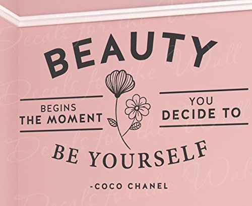 Beauty Be Yourself The Moment Begins Decide Coco Chanel - Inspirational Motivational Inspiring Women Girls - Decorative Vinyl Wall Decal Lettering Art Decor Quote Design Sticker Saying Decoration
