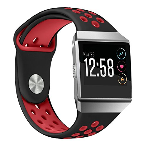 For Fitbit Ionic Sport Bands, bayite Soft Silicone Replacement Band Perforated Breathable Wristband Fashion Strap For Fitbit Ionic Fitness Smart Watch Accessories Black/Red Women Men