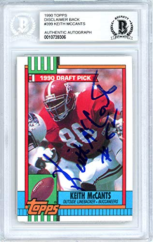 Keith Mccants Autographed 1990 Topps Rookie Card Autographed #399 Alabama Crimson Tide - Beckett Authentic