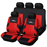 AUTOYOUTH Full Set Seat Covers for Cars Universal Fit Car Seat Protectors Tire Tracks Car Seat Accessories - 9PCS, Black/Red