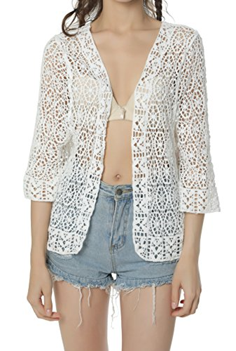 Fabrics Crocheted (Acemi Women's Lace Shrug Cardigan Floral Blouse sweaters Boho Hippie Crochet Kimono Vest Beach Wear Cover ups Free Size White)