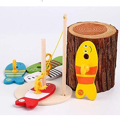 USHOT Baby Kids Fishing Nest Game Digital Fishing Wooden Fishing Sets Educational Toy: Beauty