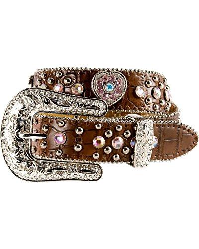 Nocona Girls' Heart Concho Croc Print Leather Belt Brown 22 - Nocona Concho