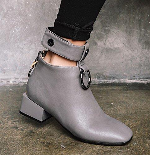 f4f3c1eb765 Aisun Femme Mode Bout Carré Talon Bloc Moyen Métal Low Boots Bottines Gris  39  Amazon.fr  Chaussures et Sacs