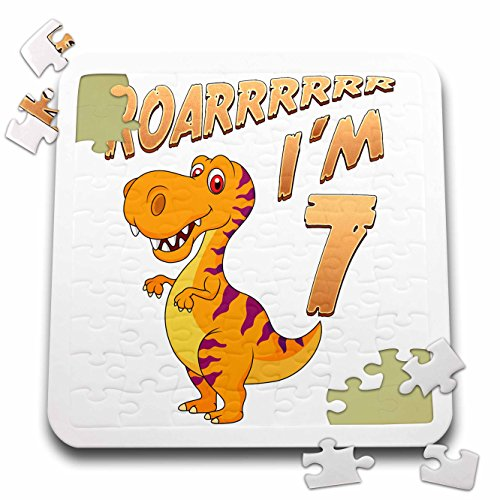 Carsten Reisinger - Illustrations - Birthday Dinosaur Roarrrrrr I am 7 Years Old Congratulations Party - 10x10 Inch Puzzle (pzl_261523_2) by 3dRose