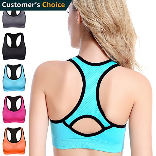 TOMAS MARSHAL Racerback Sports Bras - High Impact Activewear Fitness Gym Yoga Workout Padded Seamless Suppor