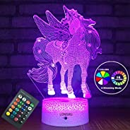LONGXU Unicorn Gifts Night Lights for Kids Night Light with Remote & Smart Touch 7 Colors + 16 Colors Chan