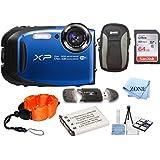 Fujifilm FinePix XP80 Waterproof Digital Camera with 2.7-Inch LCD + 64GB Memory Card+ Wrist Floating Strap + Replacement NP-45 Battey Bundle kit (Blue)