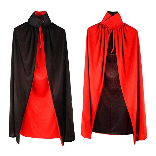 Kasstino Black Red Vampire Cape Reversible Dracula Devil Cloak Fancy Adult Costume Masquerade Party (Easy Witch Costume)