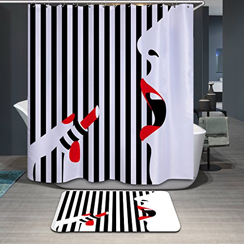 Modern Design Mildew Resistant Lipstick Beauty Shower Curtains, Width X Height / 72 X 80 Inches / W * H 180 By 200 Cm, Polyerster, Best For Wife