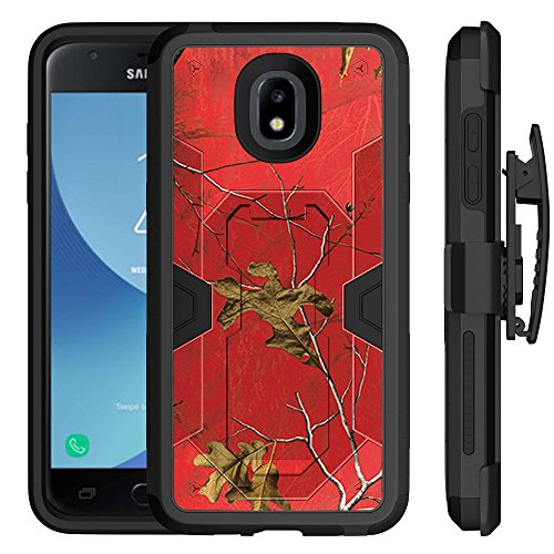 Untouchble | Camo Case for Samsung Galaxy Express Prime 3/ Amp Prime 3/ J3 Orbit / J3 2018 [MYSTIC DEFENSE] Heavy Duty Hybrid Rugged Case with Kickstand Holster Belt Clip Combo - Red Tree Camo