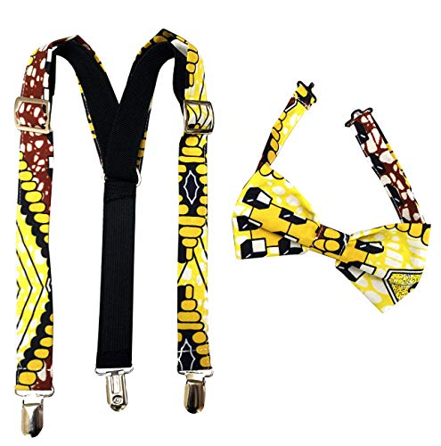 African fabric suspenders, suspenders, Bow tie, For boys, African print bow tie Ajustable,Bow tie and suspenders set, bow tie set for kids (COLOR 4)