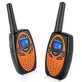 Bobela M860 Twintalker range up to 3 Miles 22 Channel Walkie talkies FRS/GMRS for Kids (1 Pair,Orange)