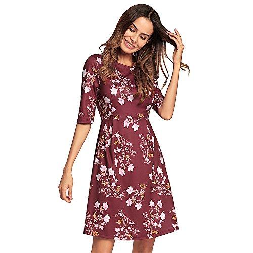 Lady's Jujube Print Skirt Dress red SJMM vZAYwqZ